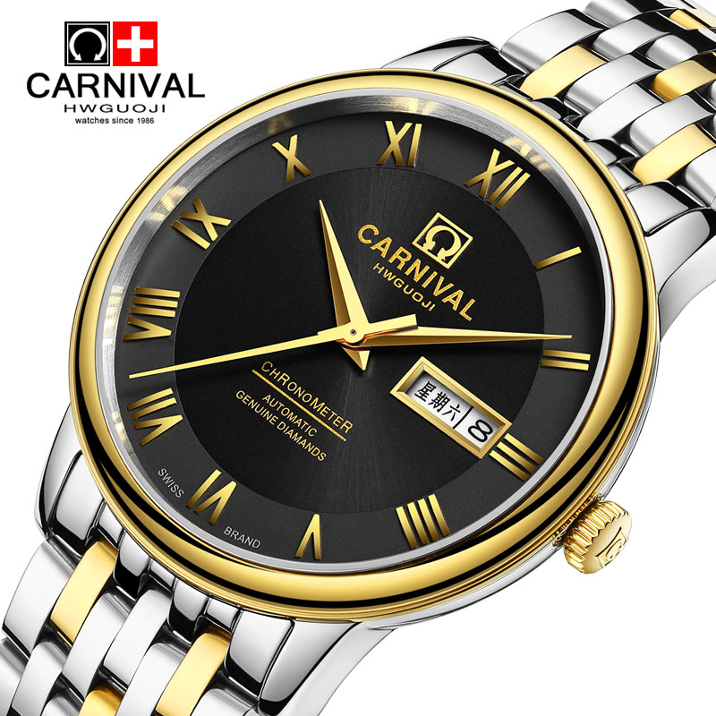 Carnival Watch Men Automatic Mechanical Luminous Full Gold Stainless Steel Waterproof Week Date Black Watches