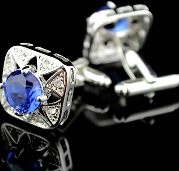 Pulsuz çatdırılma Crystal Cufflinks 6 rəng seçimi dəyirmi - Moda zərgərlik - Fotoqrafiya 3