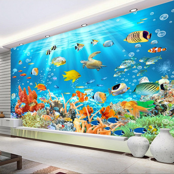 Underwater World Fish Wallpaper For Children Room And Living Room-Free Shipping 3D Wall Stickers For Kids Rooms Living Room