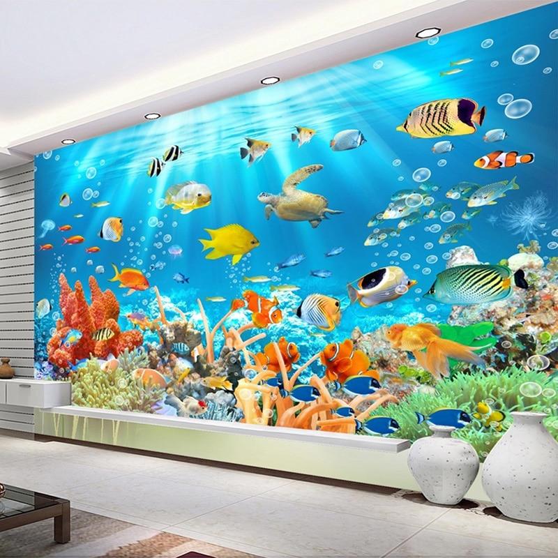 Custom Photo Mural Non-woven Embossed Wallpaper Underwater World Fish Coral Children Room Living Room Wall Decoration Wallpaper