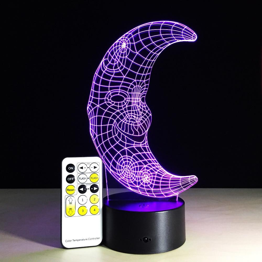Lovely Moon 3D LED Night light Colorful Remote Touch 3D Table Desk lamp Sensor Light Xmas Gift