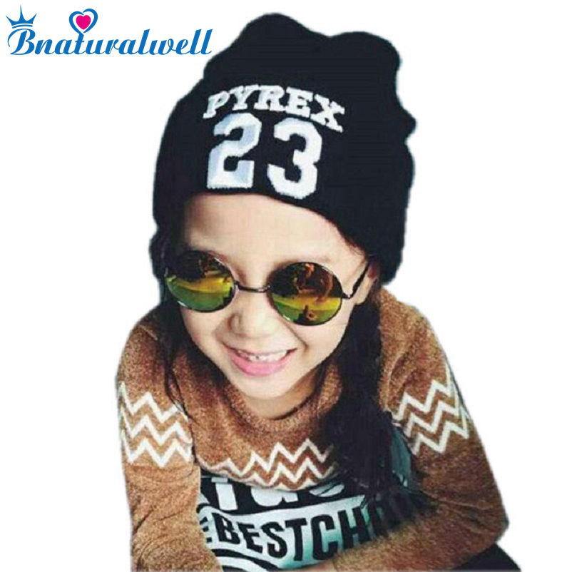 Bnaturalwell Cute Strikkede Beanie Hatte For Kids Boys Girls Hat Fashion Letter Number Cap Forår Efterår Vinter Varm Hatte H766