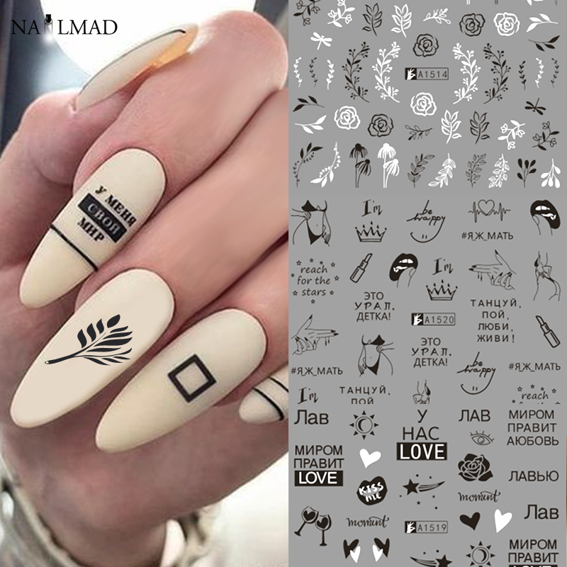 12Patterns Leaves Nail Water Decals With Inscriptions Butterfly Transfer Slider Russian Letter Sexy Girl Nail Art Sticker Set