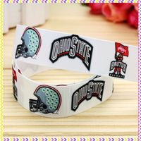 New 7/8'' Free shipping sport team printed grosgrain ribbon hair bow headwear party decoration wholesale OEM 22mm H3152