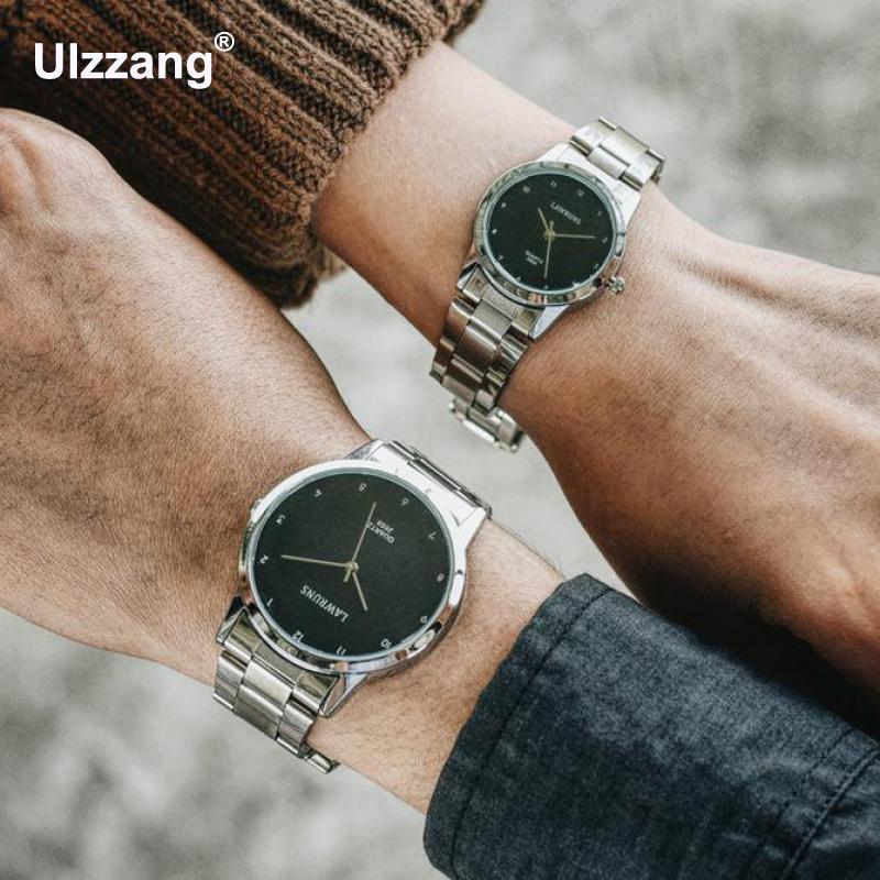 Fashion Unique Men Women Quartz Watches Cool Full Stainless Steel Couples Lovers Watch Ladies Dress Wristwatch Men Watches Clock