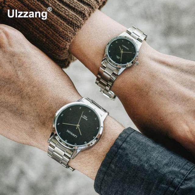 Fashion Unique Men Women Quartz Watches Cool Full Stainless Steel Couples Lovers