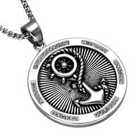 HIP Punk Okrągły Kryształ Pave Kotwica Naszyjnik Dla Mężczyzn Viking Steru Wisiorki Naszyjniki Ze Stali Nierdzewnej Mężczyzn Biżuteria