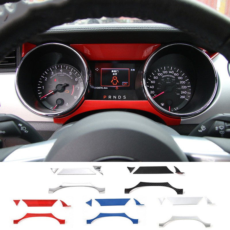 MOPAI Car Interior Accessories Instrument Panel Decoration Cover Trim ABS Stickers For Ford Mustang 2015 Up Car Styling car trunk trim strip for ford edge abs chromium styling car boot cover 3d stickers cover for ford edge 2015 2016 accessories
