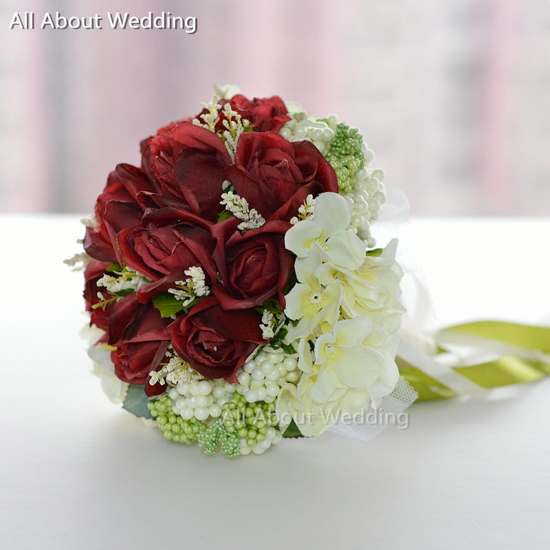 Bridal Bouquet Out Of Ribbons : Burgundy red rose ivory flower bridal bouquet with ribbon