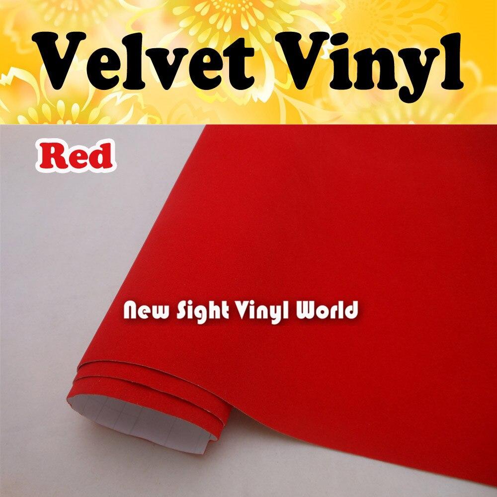 Красный замши винил обернуть Красный бархат виниловая наклейка для внутреннего украшения свободный размер воздушного пузыря:1.50*15 м/рулон