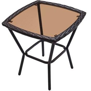 Table Basse En Rotin | 3 Pièces Patio Rotin Osier Meubles Ensemble Chaise Berçante Table Basse Moderne De Haute Qualité Jardin Extérieur Patio Meubles HW57335