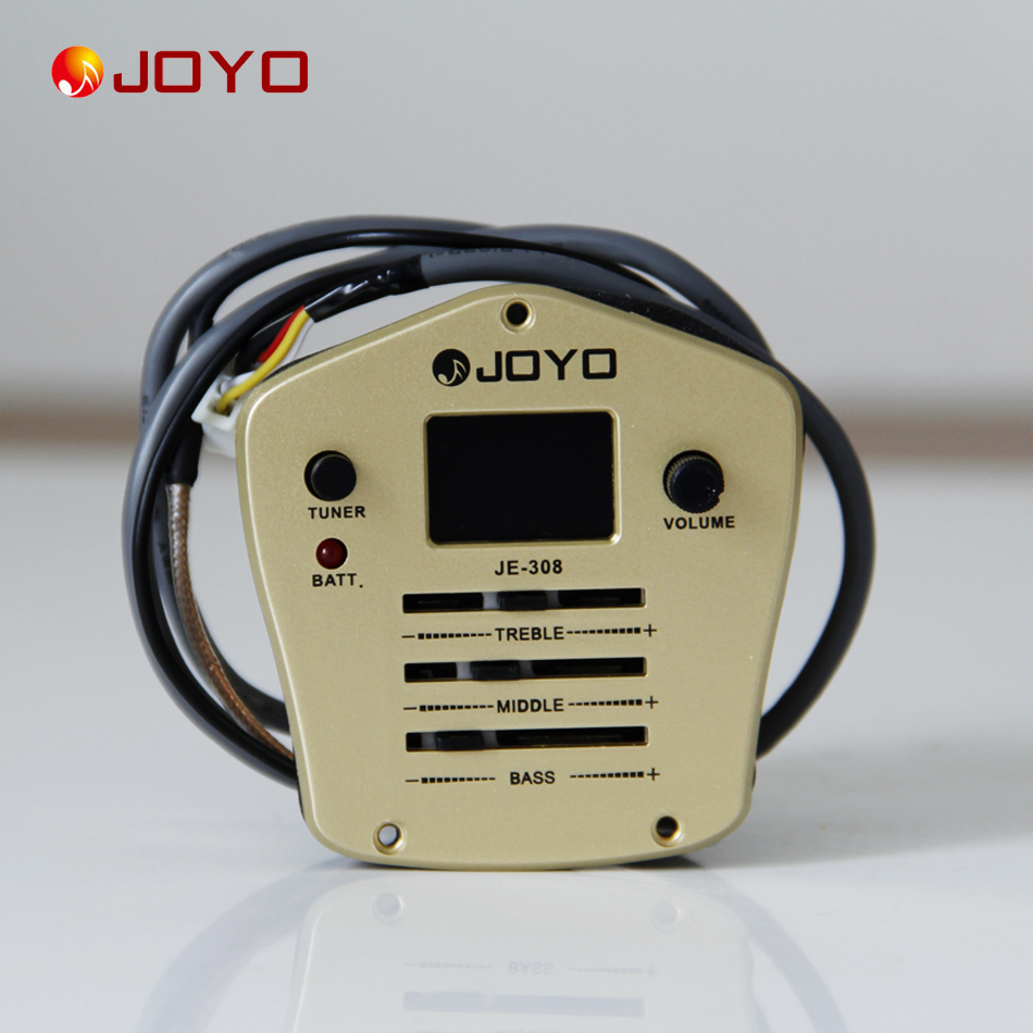 New Joyo JE-308 Pickup For Guitar 3 Band EQ with Tuner guitar pick holder guitar accessories joyo eq 307 folk guitarra 5 band eq acoutsic guitar equalizer high sensibility presence adjustable with phase effect and tuner