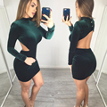 Sexy Backless Bodycon Dress Women 2017 Spring Long Sleeve Vestidos Club Wear Sheath Slim Mini Party Dresses