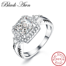 [BLACK AWN] Genuine 925 Sterling Silver Jewelry Classic Wedding Rings for Women Black&White Femme Ring Bijoux Bague C183