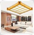 Capa de pele de carneiro ultrafino lâmpada de teto de madeira de estilo japonês Tatami sala de estudo lâmpadas 38 cm 16 W AC200-240V