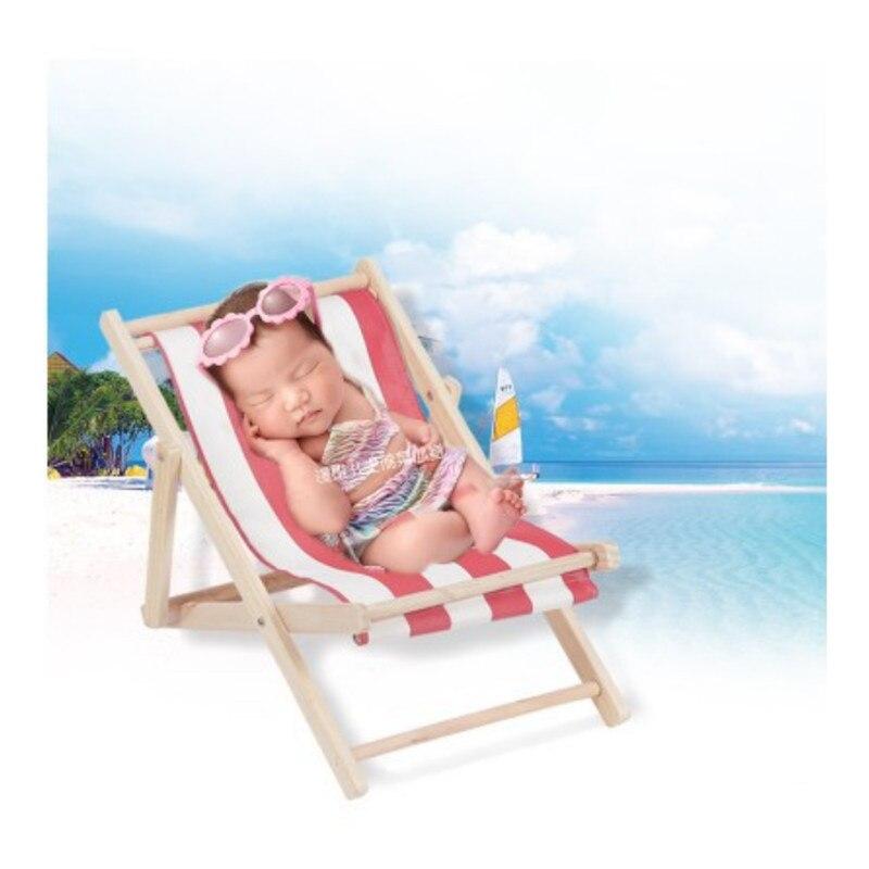 Neue Neugeborenen Fotografie Requisiten Holz Strand Stuhl für Foto Schießen Requisiten Kreative Streifen Baby Sofa Neugeborenen Fotografie Zubehör