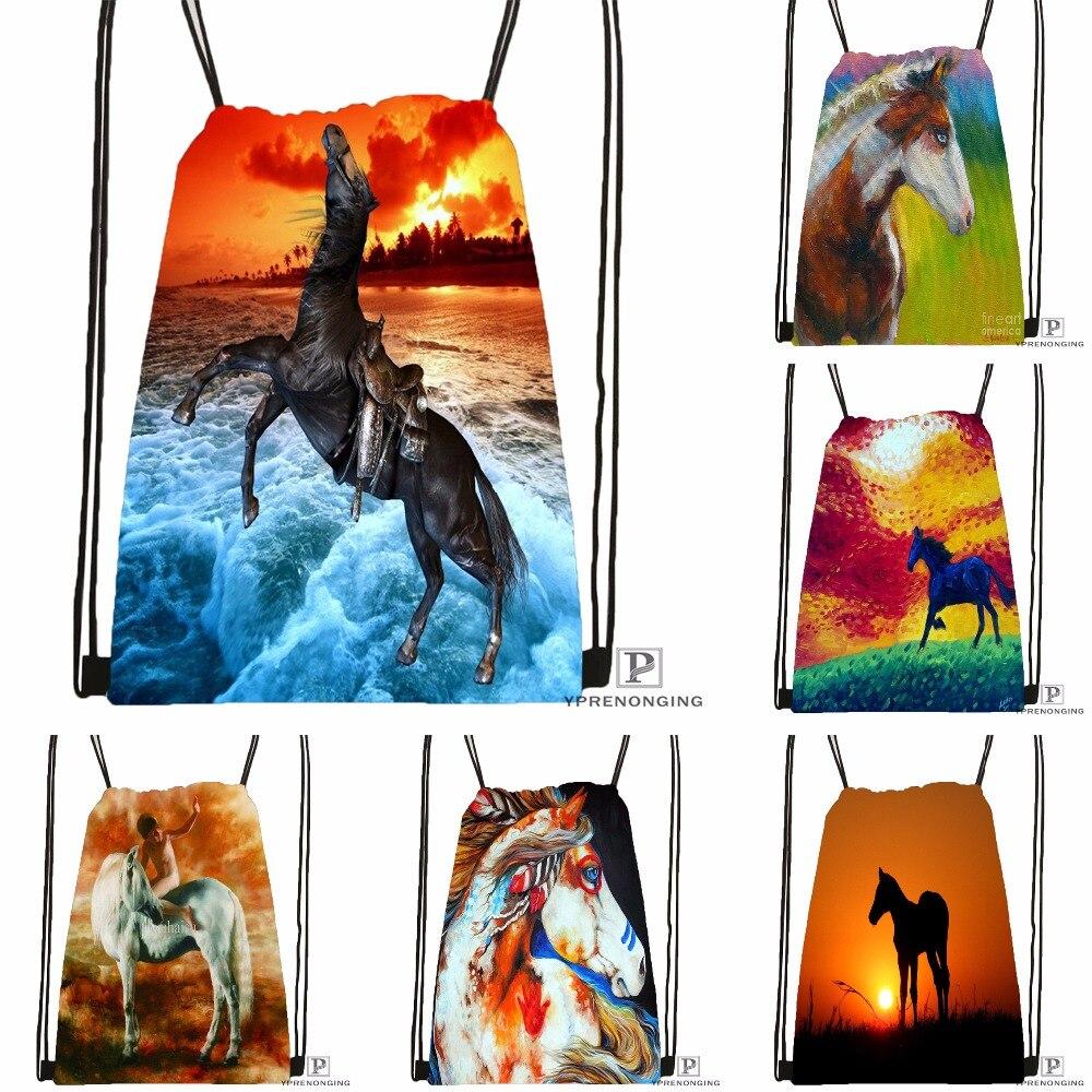 Custom Dark Horse Sunset Drawstring Backpack Bag Cute Daypack Kids Satchel (Black Back) 31x40cm#180531-04-58