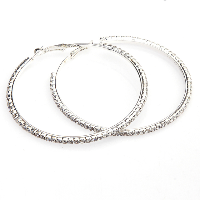 6 Sizes Fashion Luxury Round Drop Circle Earrings Geometric India Metal Silver Color Large Small