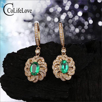 Vintage silver emerald drop earrings for party 4 mm * 6 mm natural emerald earring yellow gold color 925 silver emerald jewelry