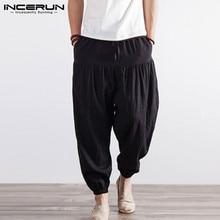 INCERUN Ретро 5XL Мужские Широкие штаны-шаровары брюки в стиле хип-хоп для бега тренировок танец тренажерные залы Masculino, эластичная резинка на талии, черный