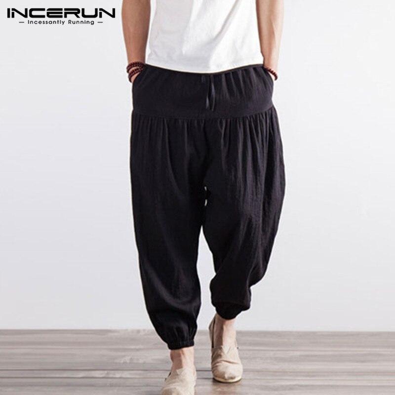 INCERUN Retro Boho 5XL Mens Pantalones anchos Harem Hiphop pantalones entrenamientos danza gimnasios Masculino Hombre elástico cintura negro