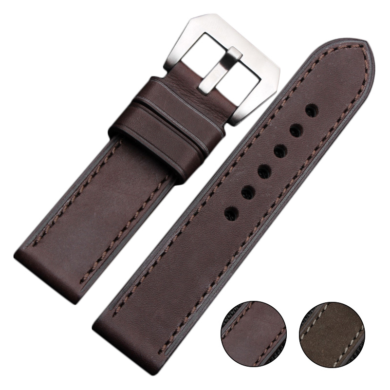 EACHE 22mm 24mm 26mm Imported Calfskin Leather Watch Strap Band Handmade Stitching Men Watchbands Stainless Steel Black Buckle eache silicone watch band strap replacement watch band can fit for swatch 17mm 19mm men women