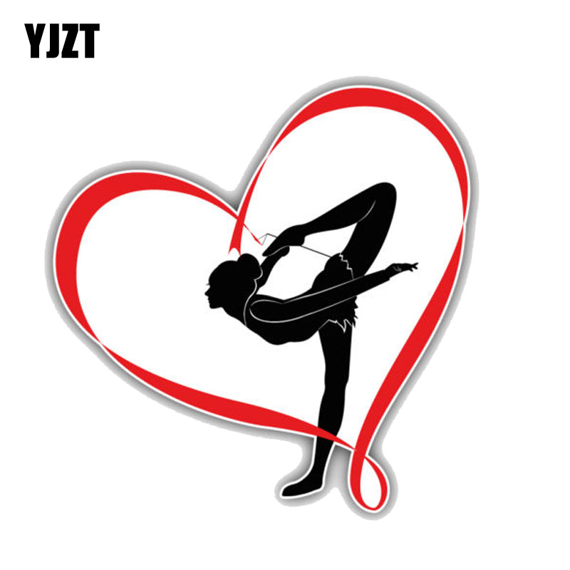 YJZT 12.3CM*12.7CM Funny Gymnastics Girl Heartl PVC Motorcycle Car Sticker 11-00212
