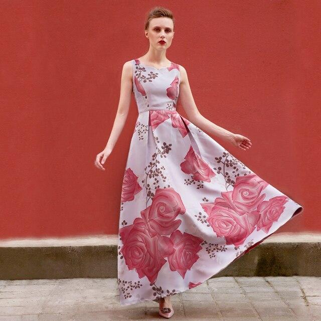 DF vintage vestido xxxl impreso flores vestido largo sin mangas de ...