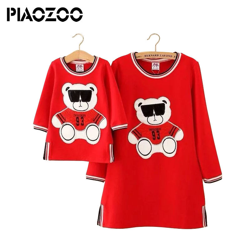 Mother daughter dresses Family Matching clothes Cute Bear Long sleeve autumn Mom and daughter dress Family look Fashion like mom spring new matching mother daughter clothes bow patchwork mother daughter dresses party mom and daughter dress family look dress