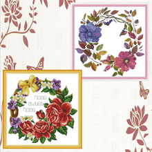 Joy Sunday,Wreath,cross stitch embroidery set,printing cloth embroidery kit,needlework,Flowers DIY cross stitch embroidery kit joy sunday magnolia flower cross stitch embroidery set printing cloth embroidery kit needlework flowers picture cross stitch kit