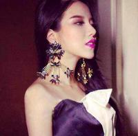 2016 New Designer Famous Brand DG Baroque Vintage Exaggerated Crystal Flower Long Earrings Fashion Bride Drop