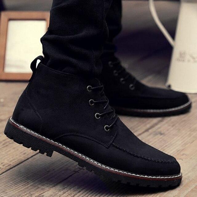 Nuevo cuero Genuino Botines de piel Caliente Marca Negro Suede Los Hombres de cuero Botas de Invierno 2017 Ocasional Del Cordón de Invierno de Los Hombres zapatos