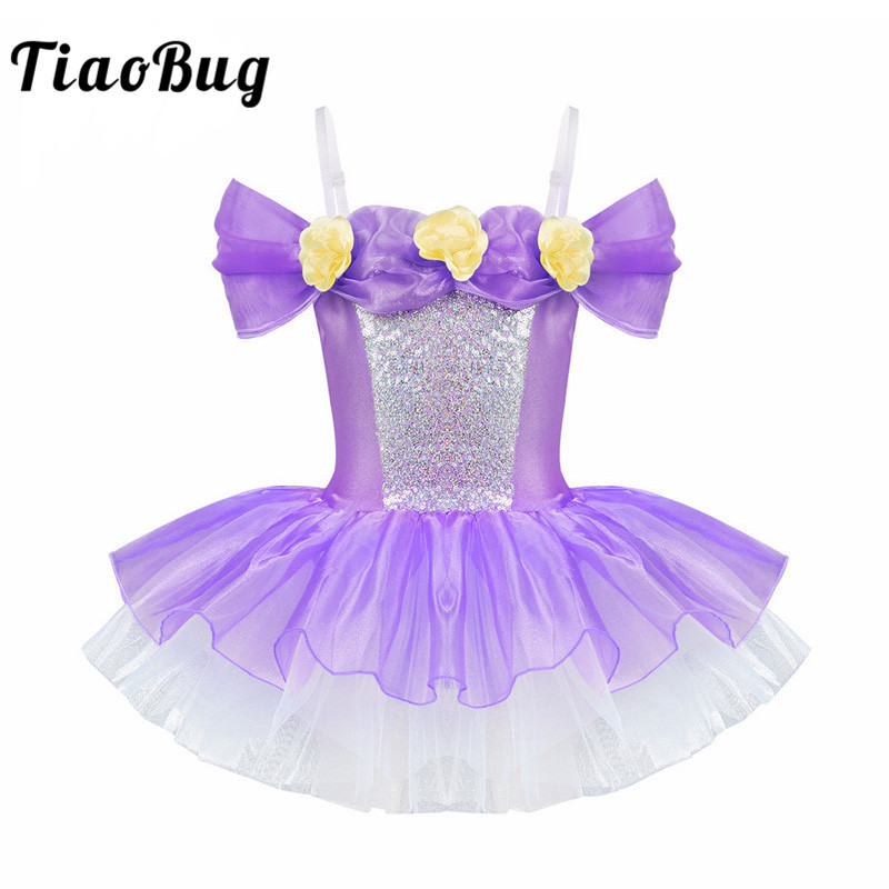 <font><b>TiaoBug</b></font> Girls Sequin Off Shoulder Princess Flower Ballet Tutu Dress Gymnastics Leotard Ballerina Dance Kids Birthday Party Dress image