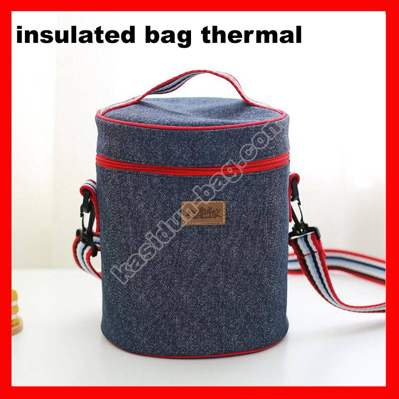 2pcs/lot 9 sizes available denim insulated thermal picnic cooler bag