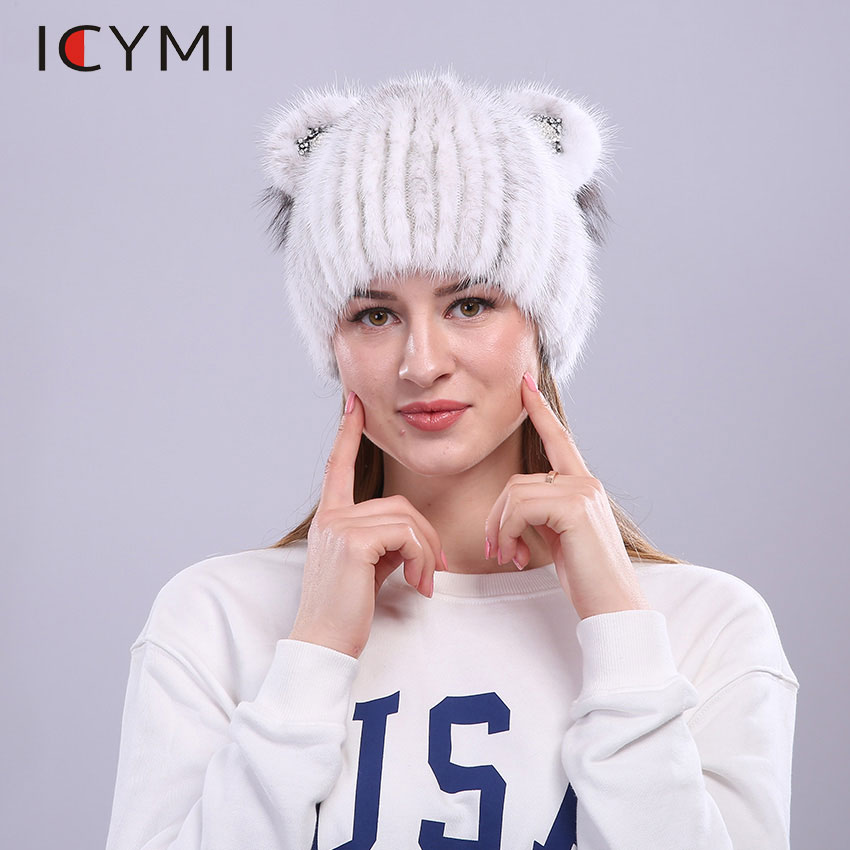 ICYMI Natural Fur Hat Cute Cat Ears Winter Crystal Beanies Women Girl Hand-made Knitted Lined Real Mink Fur Hat Cap With Fox Fur