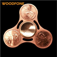 WOODFONE Hand Spinner Brass Gyro Metal Tri Fidget Spinner Anti Stres Toys Gift Man Finger Toys
