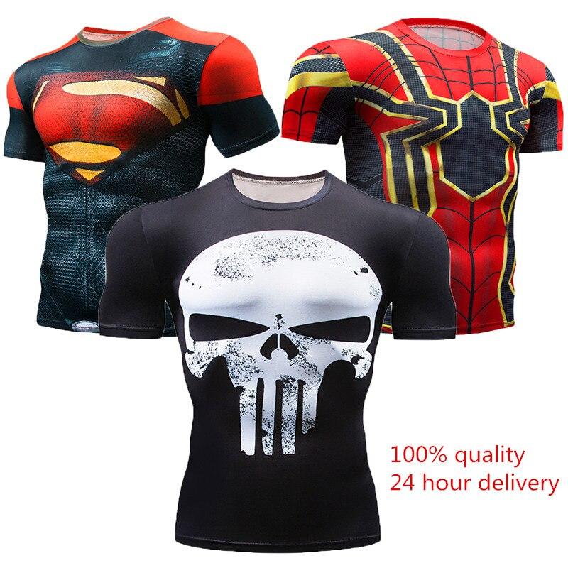 New 2018 Short Sleeve Spot Men's Civil War Compression T-shirt Marvel Avengers MMA Clothing Comics Super Men's T-Shirt Tops