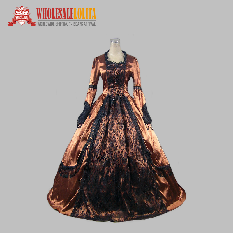 New Victorian Style Dress Champagne Satin Ball Gown Black Lace and ...