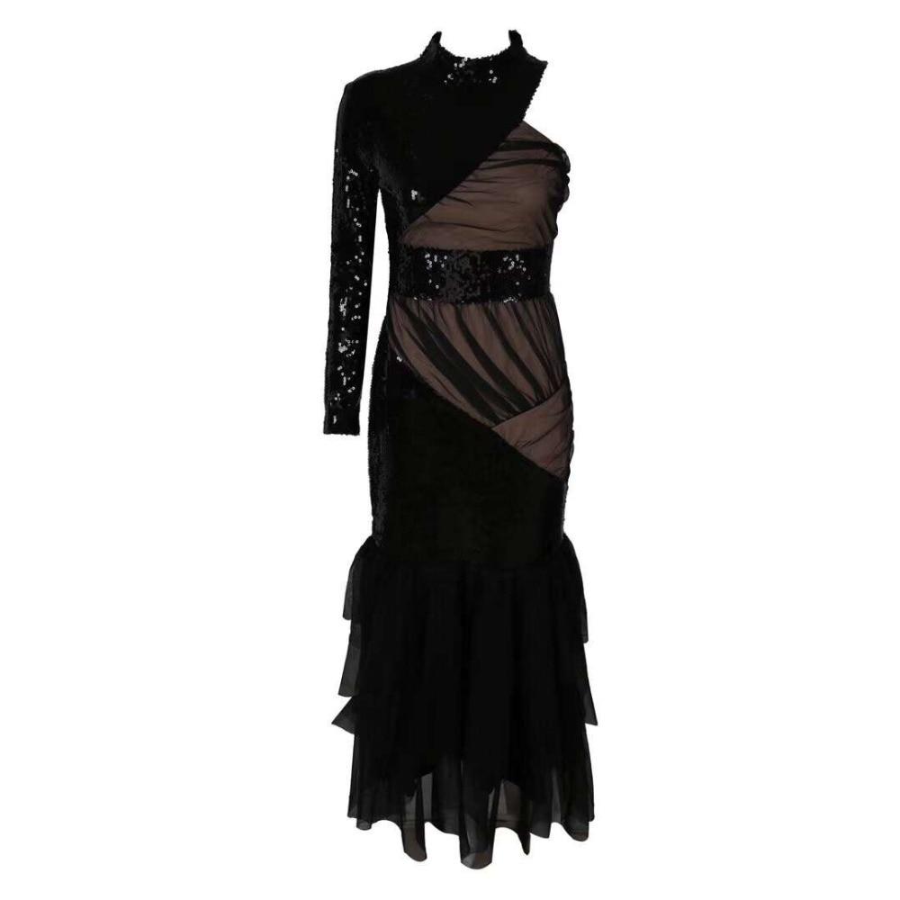 Cocktail Moulante Noir Qualité Robe Noble De Une Mode Longue Manches Épaule Top Longues q4ABwxx