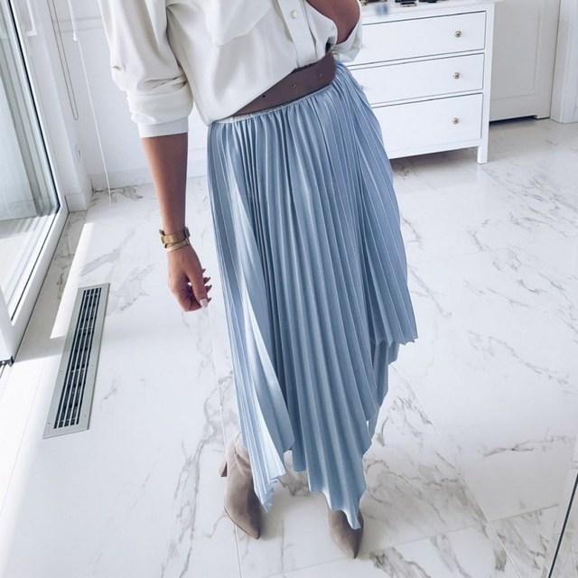 Summer 2019 Women Fashion Solid High Waist Mesh Skirt Elegant Loose Dovetail Half-Length Skirt Casual Party Pleated Skirt