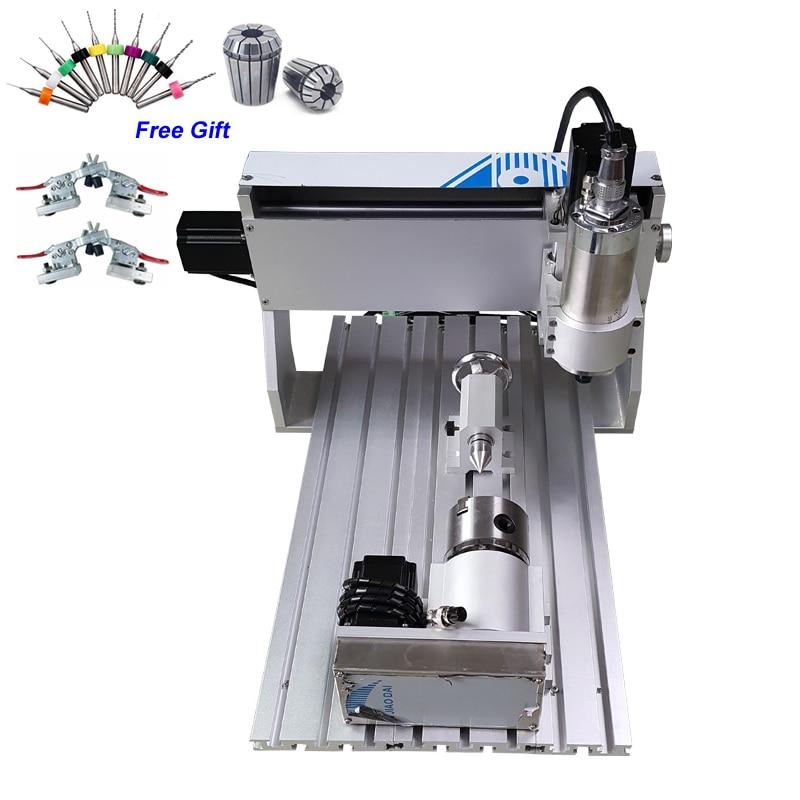 800W 4 eksen CNC freze kesici 3020 vidalı ahşap oyma makinesi