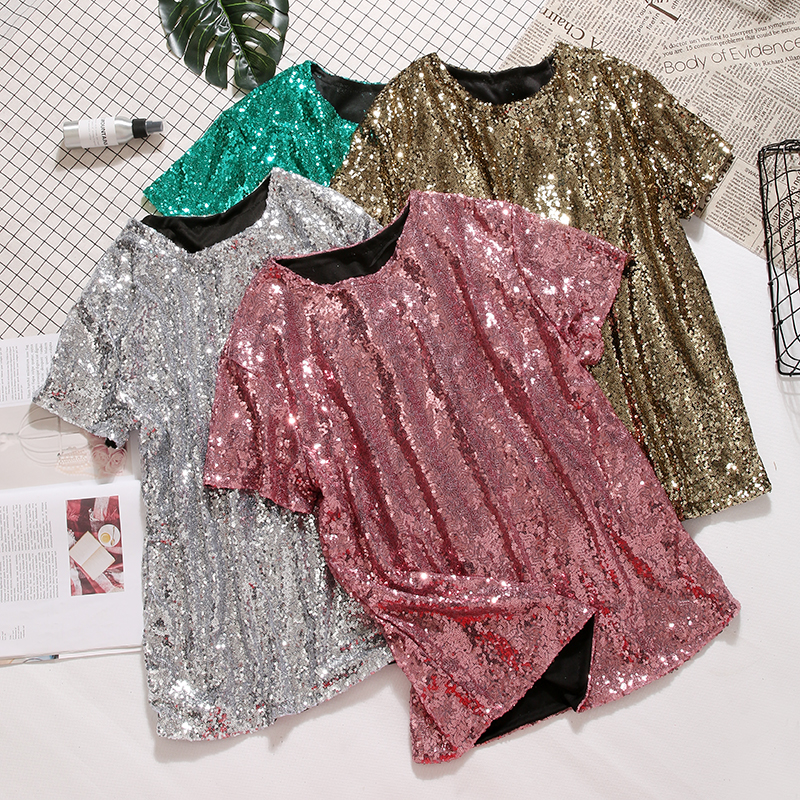 2f91ed12272 Detail Feedback Questions about Plus Size blingbling sequins T Shirts Basic  O Neck Beading Tees Loose short sleeved Shirts Stage Show Dance Performance  Tops ...