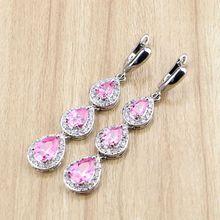 Water Drop Long Earrings Pink Cubic zirconia White CZ Beads 925 Silver Jewelry Drop Dangle Earring For Women
