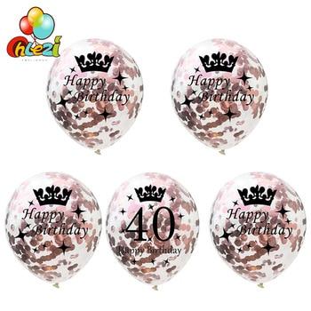 Globos de helio redondos de cumpleaños, 5 uds., 18 21 30 40 50 60 años, decoración de oro, plata, oro rosa, confeti, regalos para niñas