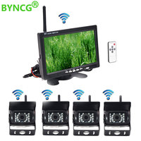 Wireless 4 Backup Cameras IR Night Vision Waterproof with 7 Rear View Monitor for RV Truck Bus Parking Assistance System