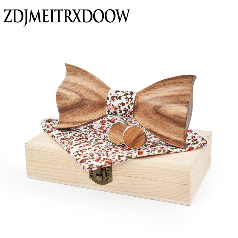 New Design 3D Zebra Wood Ties For Men Cufflinks Pocket Square Suit Adult Printing Wedding Bowtie Noeud Papillon With Wood Boxes