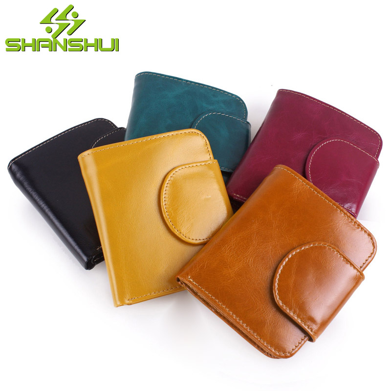 2017 Women Oil Wax Leather Vintage Short Wallet Purse Female Travel Casual Big Capacity Hasp Card Holder Cheap Purses Wallets casual weaving design card holder handbag hasp wallet for women