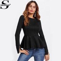 Sheinside Black Fashion Zip Cuff Peplum Blouse 2017 Round Neck Long Sleeve Ruffle Plain Blouse Women