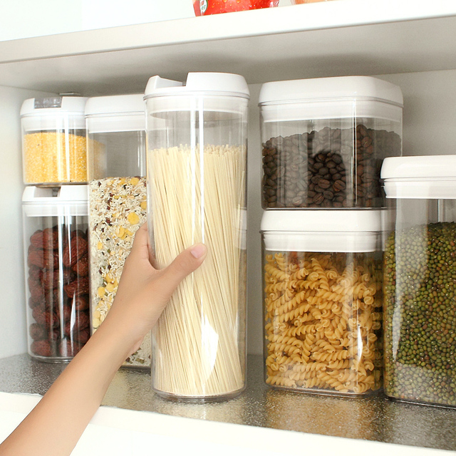 Transparent plastic food containers seal pot Milk boxes kitchen storage containers food cans storage tank tea & Transparent plastic food containers seal pot Milk boxes kitchen ...