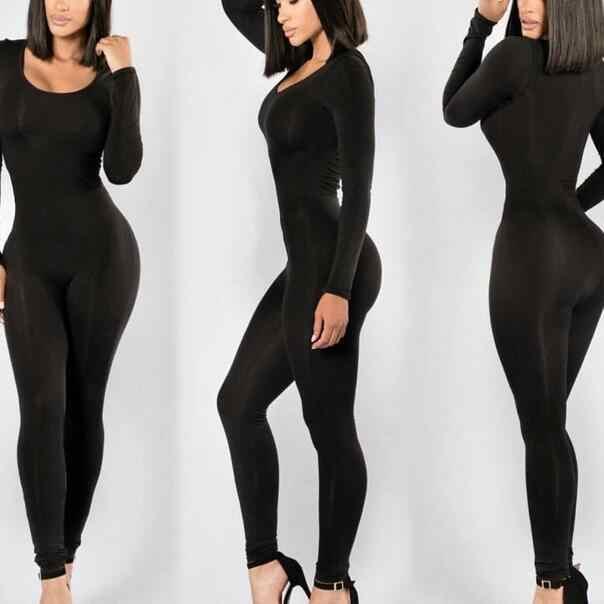 Комбинезон женские комбинезон новый 2018 зимние обтягивающие полной длины черный o-образным вырезом пикантные Клубные черный Bodycon Комбинезоны WF695